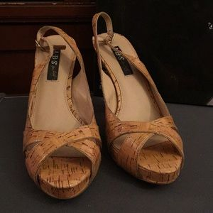 Beautiful designer ABS Sling Back, Size 10, cork
